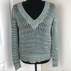 St. John Sport blue and cream knit v-neck sweater